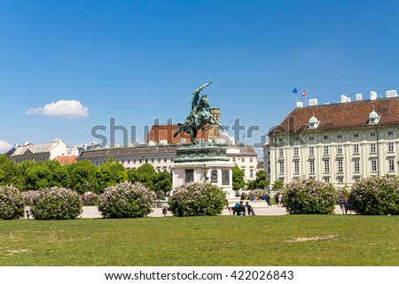 Equestrian statue of archduke Karl at the Heldenplatz in Vienna - stock photo