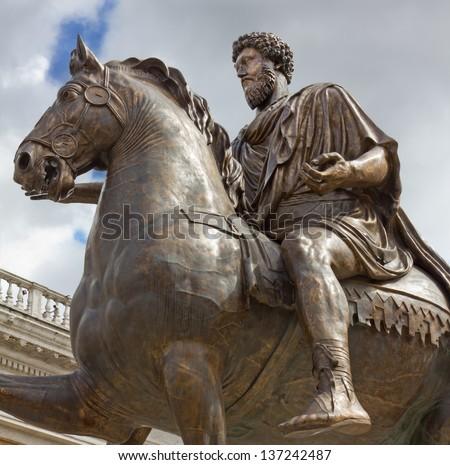 Equestrian Statue of Emperor Marcus Aurelius in Rome - stock photo