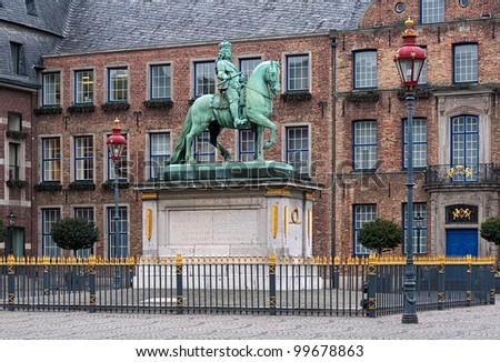 Equestrian statue of Johann Wilhelm II (Jan Wellem) in front of the City Hall in Dusseldorf, Germany - stock photo