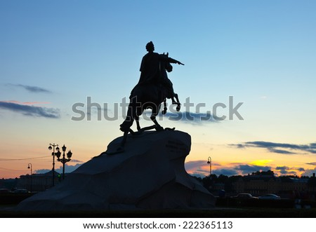 Equestrian statue of Peter the Great in sunrise. Saint Petersburg, Russia - stock photo