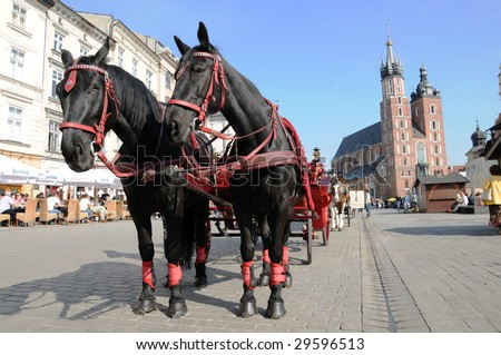equestrian team in Krakow - stock photo