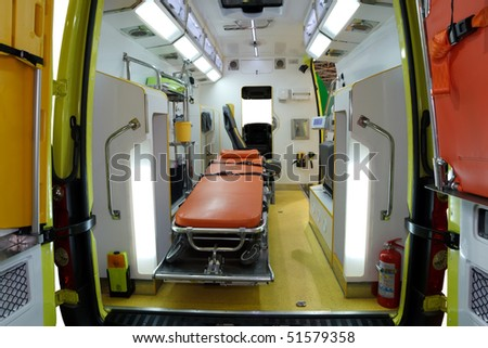 Equipment for ambulances. View from inside. Photo taken from the rear doors. - stock photo