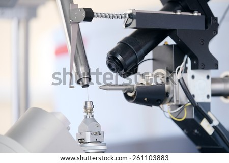 Equipment for conducting experiments in laboratory. X - ray diffractometer - stock photo