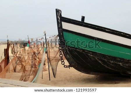 Equipment for fishing: a lot of colorful nets - stock photo
