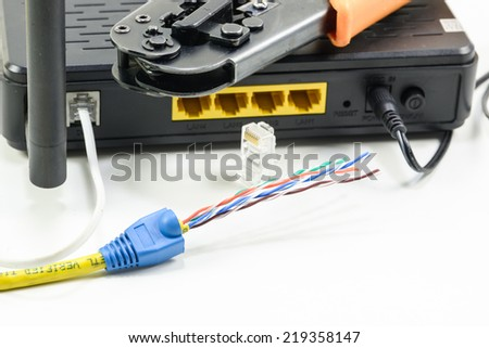 Equipment for installing lan cable - stock photo