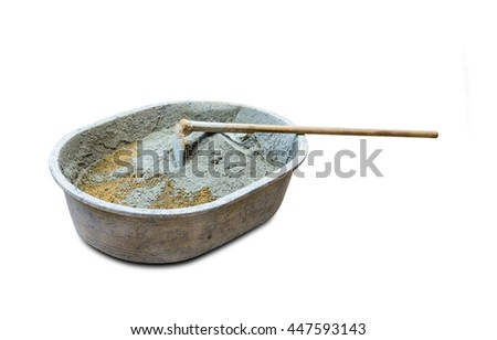 equipment for mixing cement isolated on white background,clipping path - stock photo
