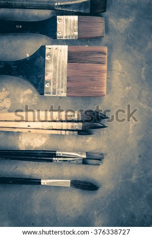 Equipment for painting and airbrush equipment. - stock photo