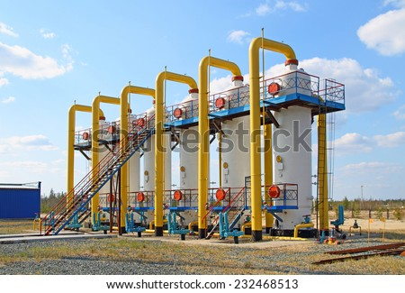 Equipment for processing and transportation of gas - stock photo