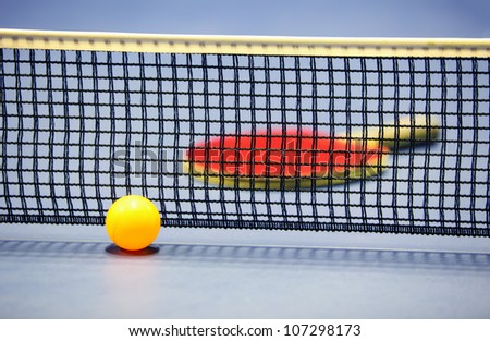 Equipment for table tennis - racket, ball, table, net - stock photo