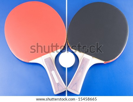 Equipment for table tennis - two rackets, ball, table. 5 - stock photo