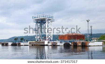 Equipment for tankers loading. Black sea coast, Oil terminal of Varna port, Bulgaria - stock photo