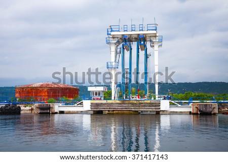 Equipment for tankers loading. Black sea coast, Oil terminal. Varna port, Bulgaria - stock photo
