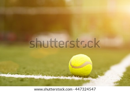 Equipment for tennis on grass - stock photo
