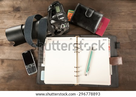 equipment for the trip - stock photo