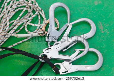 Equipment for work at heights area/rope access - stock photo