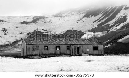 Equipment left at abandoned whalers' station in Deception Island, Antarctica - stock photo