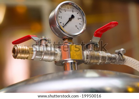 equipment of a brewery for cold beer - stock photo
