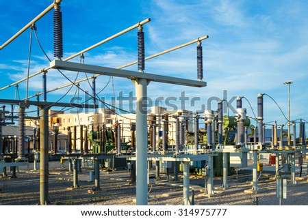 Equipment of electric networks - stock photo