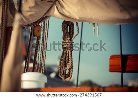 Equipment of yachts and sailing ships - stock photo