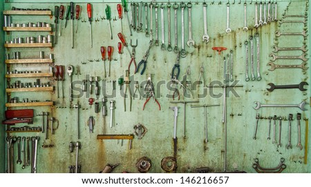 Equipment tools on board - stock photo