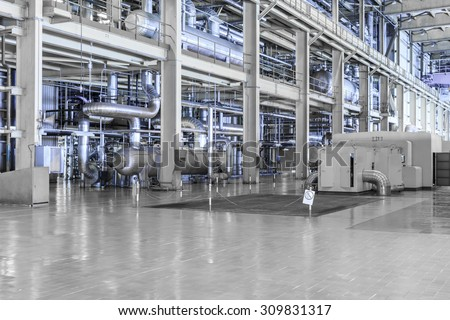 equipments and machinery in a modern thermal power plant - stock photo
