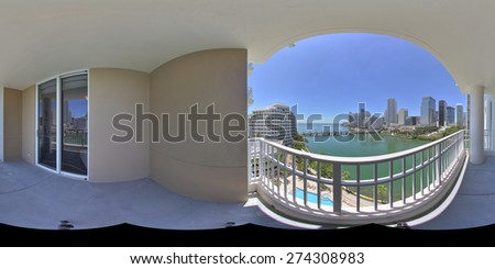equirectangular panoramic image of a balcony with city view stitched for virtual tour software - stock photo
