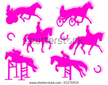 Equitation silhouette in different poses and attitudes - stock photo