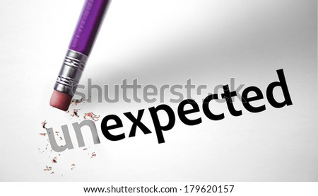 Eraser changing the word unexpected for expected - stock photo
