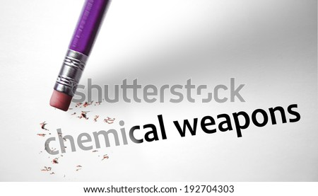 Eraser deleting the concept Chemical Weapons - stock photo