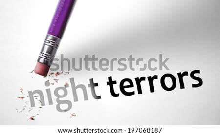 Eraser deleting the concept Night Terrors - stock photo