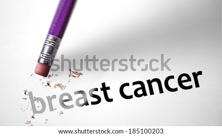 Eraser deleting the phrase Breast Cancer - stock photo