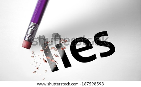 Eraser deleting the word Lies - stock photo
