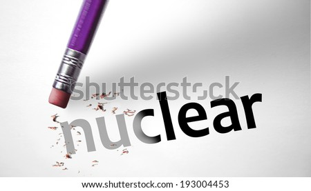 Eraser deleting the word Nuclear - stock photo