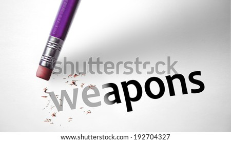 Eraser deleting the word Weapons - stock photo