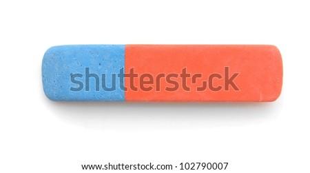Eraser on a white background. - stock photo