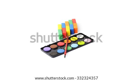erasers and set color water isolated on white background - stock photo