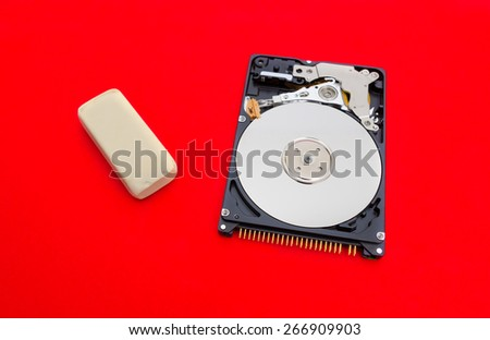Erasing files from a hard drive conceptual image suggested by a white eraser next to a hard disk on a red alerted dangerous background with a risky look and safety concerns - stock photo