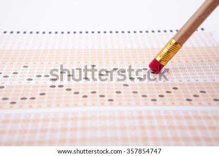 erasing wrong answer - stock photo