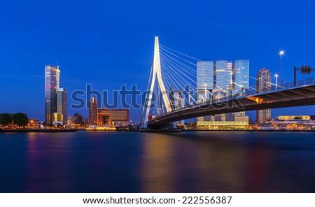 Erasmus Bridge and Rotterdam Skyline at Twilight, Zuid Holland, The Netherlands - stock photo