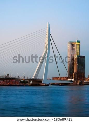 Erasmus Bridge and  Rotterdam, The Netherlands - stock photo