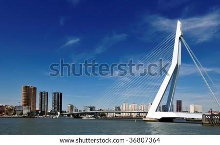 Erasmus bridge in Rotterdam the Netherlands, Europe - stock photo
