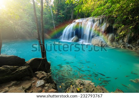 Erawan Waterfall, Erawan National Park in Kanchanaburi, Thailand - stock photo