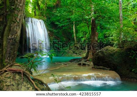 Erawan waterfall in  National Park Kanjanaburi ,Thailand - stock photo