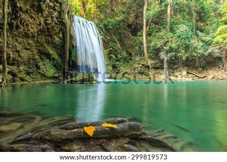 Erawan Waterfall, Kanchanaburi, Thailand. - stock photo