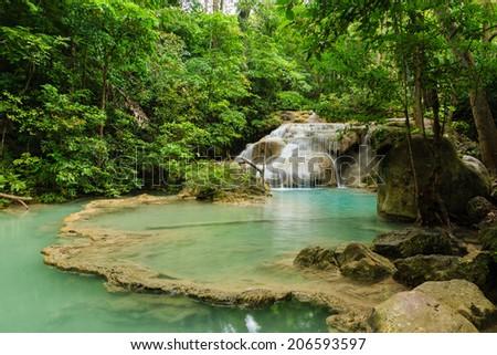 Erawan Waterfall National Park in Kanchanaburi Province, of Thailand. - stock photo