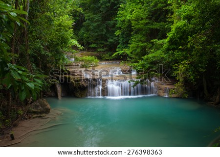 Erawan waterfall National Park Kanjanaburi,Thailand. - stock photo