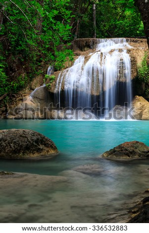Erawan waterfall National Park Kanjanaburi Thailand - stock photo