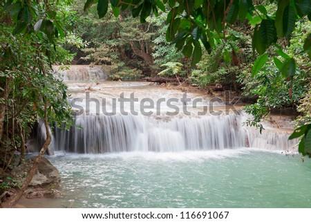 Erawan waterfall National Park, Thailand - stock photo