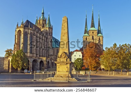 Erfurt Cathedral and Severikirche,Germany. Both churches tower above the town scape and are accessible via huge open stairs called Domstufen. - stock photo