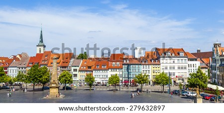 ERFURT, GERMANY - MAY 26: people enjoy visiting the famous market place at dome hill on May 26, 2012 in Erfurt, Germany. - stock photo